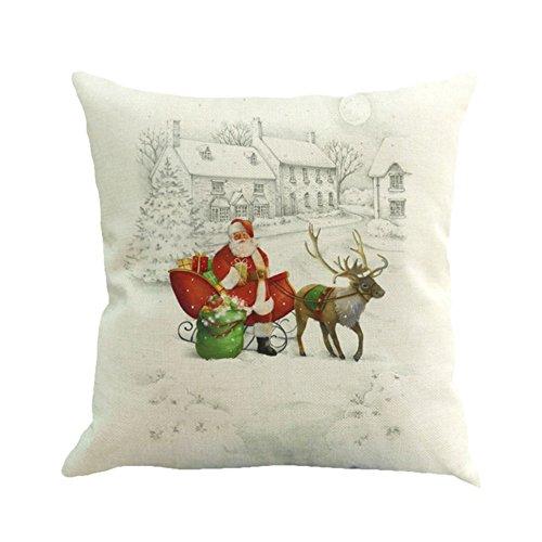 Escena de Navidad con funda de almohada, hankyky lino corona de nieve ciervos impreso decorativo funda de cojín,...