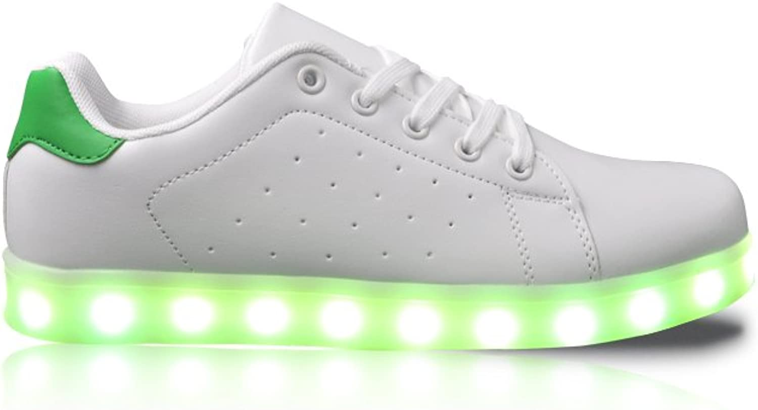 GleamKicks Unisex Classic Low Top Lace Up color Light LED Glowing Retro Style Flat Sneaker shoes