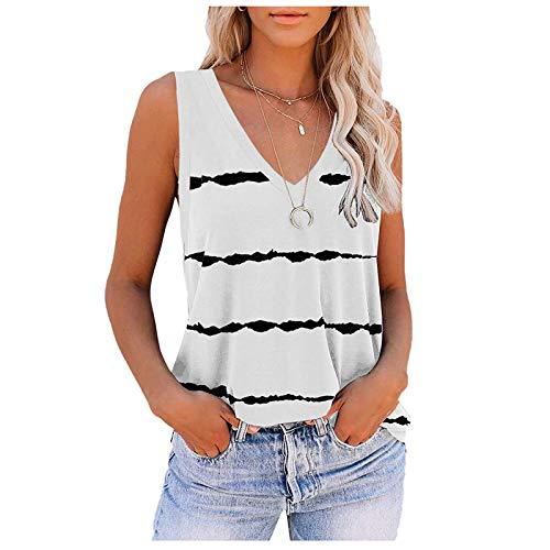 L9WEI - Camiseta de tirantes para mujer, cuello en V, holgada, para verano, sin mangas, con estampado de moda, informal, para niña, chaleco de verano, Mujer, Blanco, medium