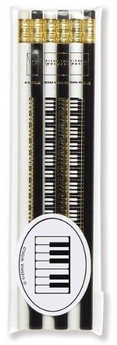 Crayons à papier avec gomme - Clavier - Lot de 6 - Cadeau musique