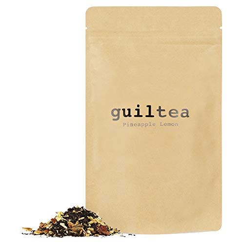 guiltea 100g Pineapple Lemon I Mezcla de té negro con hierbas y trozos de fruta, aromatizada con sabor a pina y limón I Té de hojas sueltas