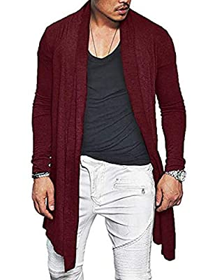 ZEGOLO Mens Long Sleeve Draped Lightweight Casual Fashion Open Front Slim Longline Cardigan Wine Red from