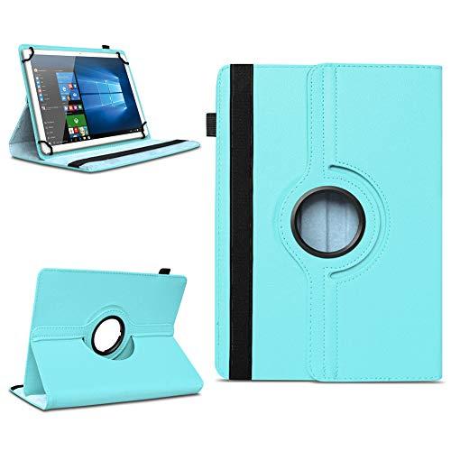 NAmobile Tablet Hülle kompatibel für TrekStor Surftab Breeze 10.1 Quad Tasche Schutzhülle Cover Drehbar Universal Hülle, Farben:Türkis