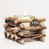 Set de 2 Velas Decorativas con vaso de vidrio | Estilo rústico | Portavelas de madera de mesa para decoración del hogar.