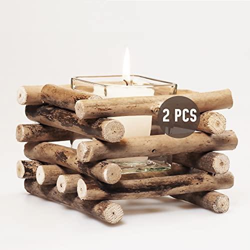 Gadgy Teelichthalter Holz | Set 2 Treibholz Deko | Tischdeko Wohnzimmer | Windlicht Herbst | Kerzenhalter Holz | Deko Fensterbank | Esstisch Deko |Teelichthalter Herbst | Rustikale Deko
