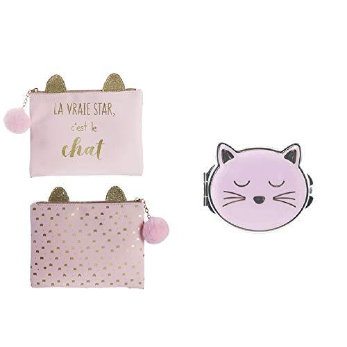 Groupe CMP - Lot de Trousse de Toilette + Miroir de Poche La Vraie Star C'est Le Chat Couleur Rose
