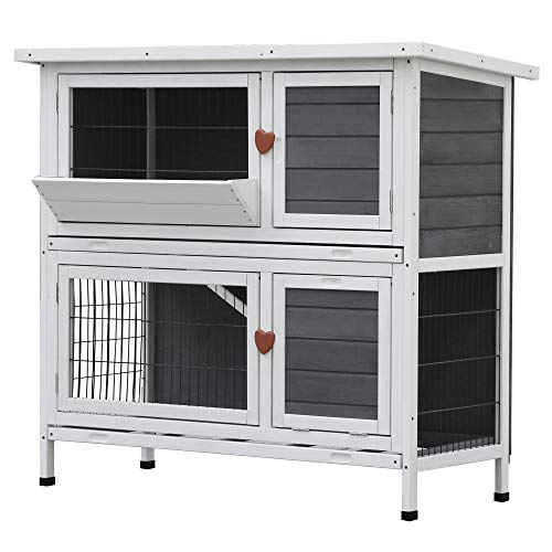 Lovupet 43inch 2-Story Elevated Stacked Outdoor Wooden Rabbit Hutch Small Animal Habitat with Ramp (Grey)