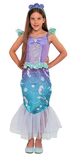 Magicoo Disfraz de sirena de caballito de mar para niña, incluye vestido de sirena y diademas, color azul/lila, tallas 110 hasta 140, disfraz de sirena infantil (122/128)