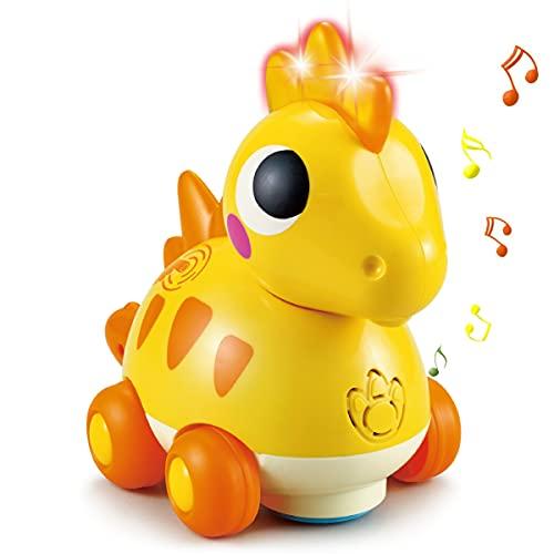 HOLA Musik Krabbeln Baby Spielzeug 1 Jahr Mädchen Junge, Touch & Go Musikspielzeug Dinosaurier Babyspielzeug ab 6 Monate mit licht & sound, Kinder Kleinkind Baby Spielzeug Geschenk 6 9 12 18 24 Monate