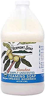 Vermont Soap SunShea Organic Unscented Foaming Hand Soap, USDA Certified Organic Moisturizing Soap for Dry Skin 1/2 Gallon Refill (64oz Simply Unscented)