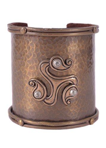 Battle-Merchant Breiter Armreif Vikings mit keltischer Triskele - Innen mit Leder - Kelten Wikinger Mittelalter