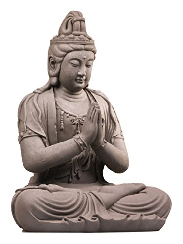 Stone-Lite Drop 749 Kwan Yin Bouddha Assis Statue d'emballage Mail-Order, Gris, 44 x 36 x 59 cm