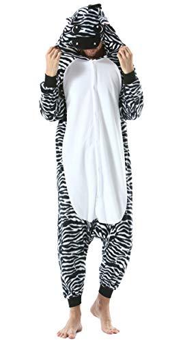 Pijama Animal Entero Unisex para Adultos con Capucha Cosplay Pyjamas Ropa de Dormir Kigurumi Traje de Disfraz para Festival de Carnaval Halloween Navidad Cebra
