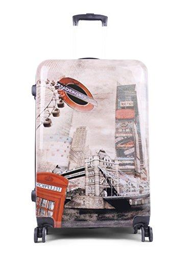 Hartschalenkoffer mit Motiv Trolley Koffer Reisekoffer TSA-Schloss mit Zwillingsrollen (Vintage London, Kleiner Koffer)