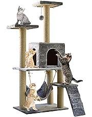 اشجار متعددة الرفوف للقطط مع اعمدة خدش مغطاة بالسيزال ومساند من نسيج بلش وغرفة للقطط والحيوانات الاليفة