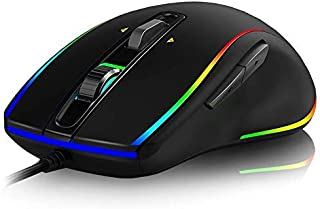 (Renewed) Live Tech Professional GameOn Wired Gold Plated USB Gaming Mouse 6 Button Pixart 3325 Sensor Up to 8000 DPI RGB ...