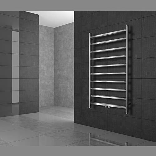 ECD Germany Radiador toallero de baño DHK Makan - 500 x 900 mm - Cromado - Radiador calentador y secador de toallas - Radiador de pared - Radiador calefactor de baño - Diseño moderno - No eléctrico