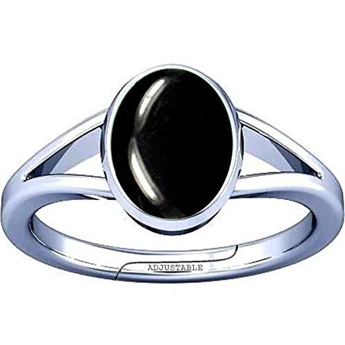 Divya Shakti Anillo ajustable de 7,25 a 7,50 quilates de ágata negra/piedra preciosa kala hakik plata ajustable para hombres y mujeres