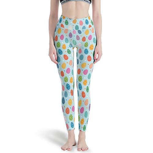 RQPPY Lange Leggings Yoga Sporthose Damen Easter Eggs Cute(5) Fitnesshose für Yoga White xs