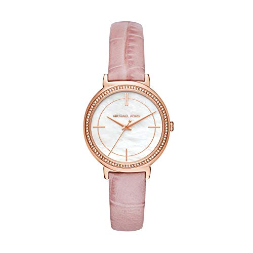 Michael Kors Damen Analog Quarz Uhr mit Leder Armband MK2663