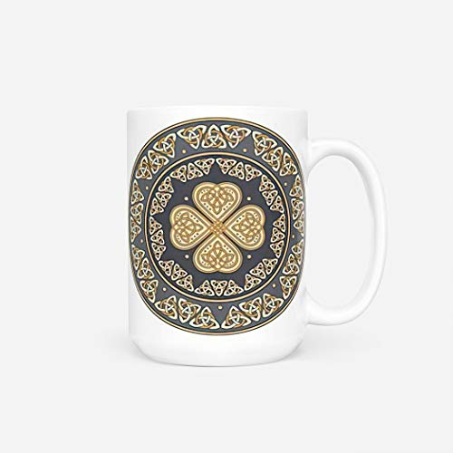 Norse Mythology Mug,Funny Insulated Bulk Offee Mug for Women Men Gift for Lover,Best Friend,Dad,Brother,Boss or Boyfriend,Celtic Shield A Ancient European White Vec,16 Oz