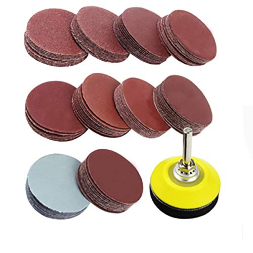 100 Pieces 2 Inch Sanding Discs, 80-3000 Grit Sandpaper with 1/4' Shank Backing Plate and Soft Foam Buffering Pad, for Drill Grinder Rotary Tool, Hook and Loop Sand Paper Assortment Pack