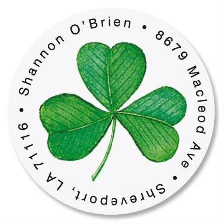 Personalized Shamrock Round St. Patrick's Day Address Labels - Set of 144 Self-Adhesive, Flat-Sheet Irish labels