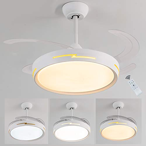 Ventilatore da soffitto,lampadari con ventilatore a soffitto,LED Dimmerabile ventilatore soffitto con telecomando Ultra-silenzioso ventilatore pale retrattili funzione estate/inverno Fan Plafoniere