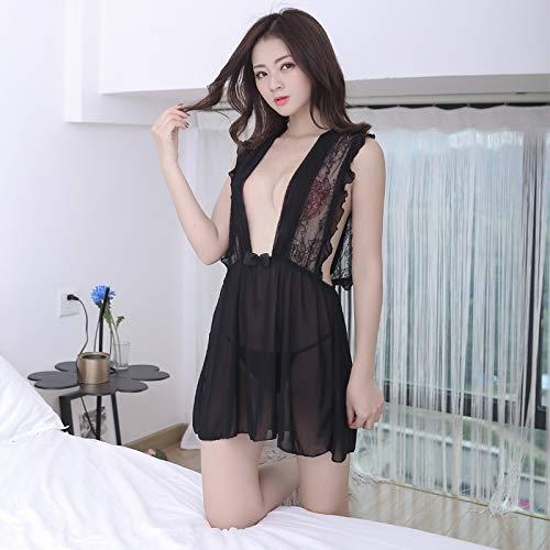 Rhpnyi Pijama Sexy con Cuello en V Profundo camisn Femenino Traje Sexy de Encaje Transparente Suave y Fino Talla nica