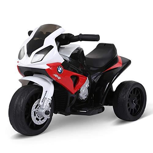 HOMCOM Moto Eléctrica Infantil con Licencia BMW S1000RR Triciclo Trimoto para Niños +2 Años con Luces y Música 66x37x44 cm Rojo