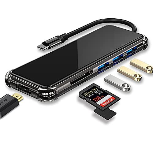 Adaptador USB C Hub 6 en 1 Dongle USB C con 4K HDMI, USB 3.0, lector de tarjetas SD/TF compatible con MacBook Pro/Air, iPad Pro, iPad Mini 6, Surface Pro USB C portátiles y más dispositivos tipo C