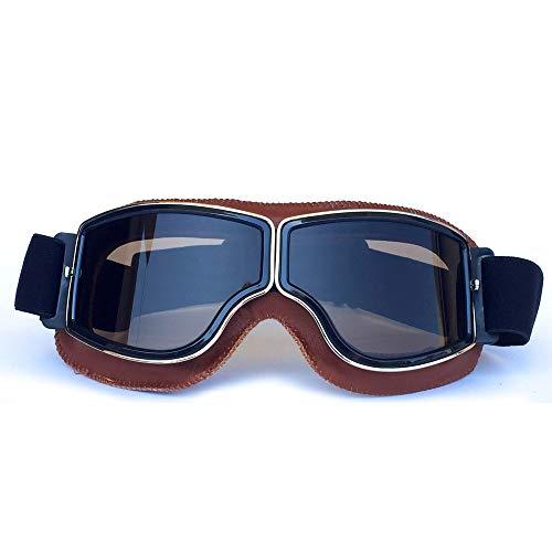 Yopria Vintage Brille Sport Sonnenbrillen Helm Steampunk Brillen Motocross im Freien Rennfahrer-Motorrad Flieger Pilot Stil Cruiser Scooter Brille Retro für Kinder Männer und Frauen