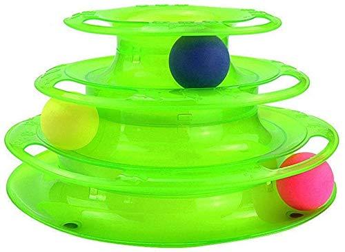 Tres Niveles Pet Cats Toy Tower Pistas Discos Cats Inteligencia Diversión Triple Pago Discos Discos Juguetes Transporte Placa De Diversión (Color: Verde) (Color : Green)
