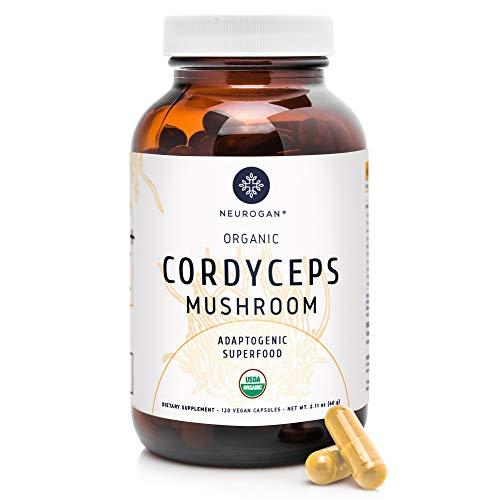 Neurogan Cordyceps Capsules - 1000mg (120 caps) Organic Cordyceps Militaris Extract for Improved Energy, Stamina, Immune & Oxygen Utilization - Vegan, Non-GMO, Gluten Free