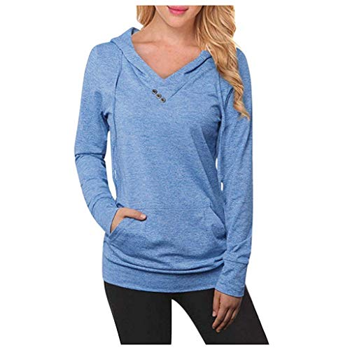EUCoo Sweat-Shirts Femmes Vetement Automne Mode Sweat à Capuche Imprimé Manches Longues Chemise Fille Pullover Jumper Hoodie Sweat Tops(Bleu,S)