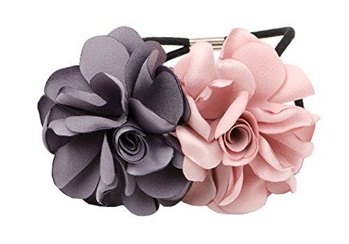 Two Flowers Design Ponytail Holder Cravate Cheveux pour Lady Women Girls