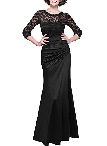 MIUSOL Damen Elegant Abendkleid Rundhals Schwarze Spitzen Brautjungfer Cocktailkleid Vintage Cocktailkleid Langes Kleid Schwarz S