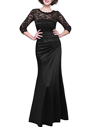 MIUSOL Damen Elegant Abendkleid Rundhals Schwarze Spitzen Brautjungfer Cocktailkleid Vintage Cocktailkleid Langes Kleid Schwarz 3XL