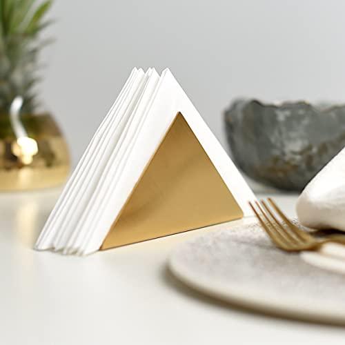 Portatovaglioli in metallo dorato triangolo, dispenser per tovaglioli da cucina, dispenser per fazzoletti, organizer per cucina, piano di lavoro, decorazione per ristoranti, accessori da decorazione