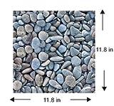 Beautiful Blue Stones Tiles 12'x 12' Designs Peel and Stick Self Adhesive Removable Stick On Kitchen Backsplash Bathroom Bedroom Livingroom and Office Room 3D Wall Sticker Wallpaper Tiles (20, Blue)