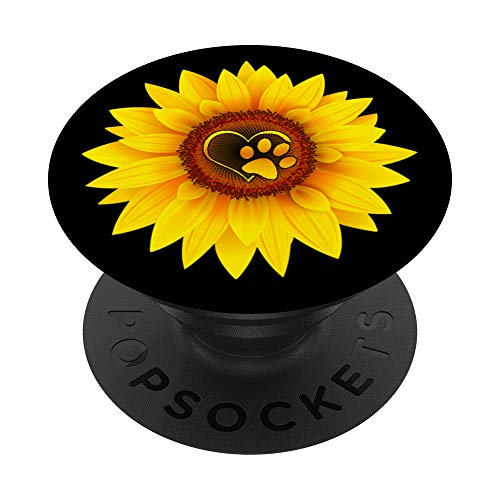 Paw Print Dog Paw Cute Dog Love Yellow Sunflower on Black PopSockets PopGrip: Swappable Grip for Phones & Tablets
