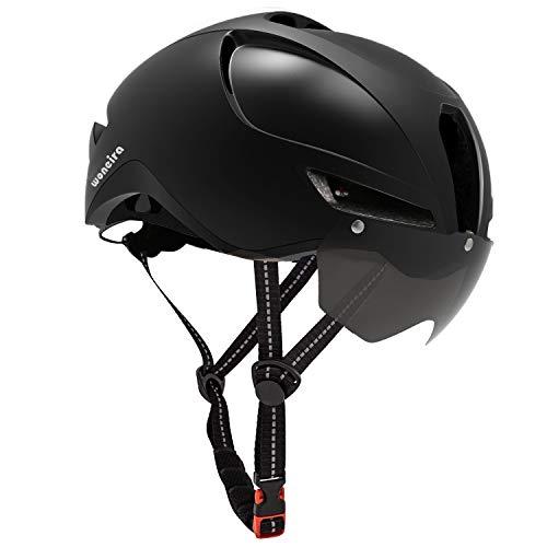 WONEIRA Casque de vélo avec lunettes magnétiques amovibles et lumière arrière pour adulte, casque de vélo de route/vélo/VTT Homme/femme Norme de sécurité CPSC (Noir)