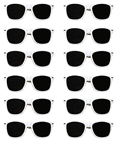 White Sunglasses Wedding-Bachelorette Party Bulk Pack of 12 Premium Quality Sturdy Frames-Lenses Sunglasses Fit Adults Exactly What Your Looking For In Wedding-Bachelorette Party Sunglasses Ladies Men