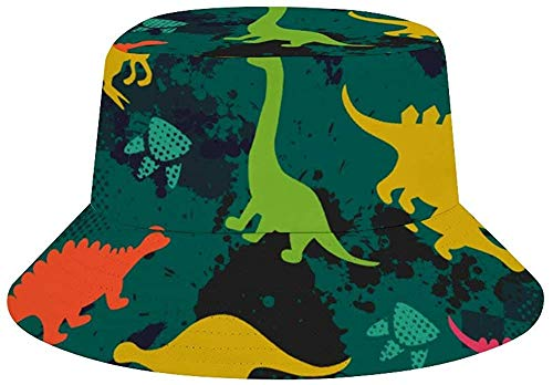 BONRI Mujeres Hombres Niños Niñas Sombrero de Cubo Transpirable Protección Solar Sombrero de Pescador-Animal Dinosaur Set Camuflaje Verde-Talla única
