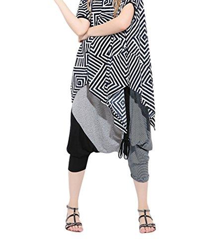 Baymate Pantalon Lâche Sarouel Pantalons Aladin Harem Pantalon Baggy Femme Pantalons de survêtement Noir