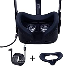 ENJOY PC-VR GAMES–Oculus Link Cable connects Oculus Quest headset to a gaming PC so you can play a wide range of Oculus Rift apps and games. Face silicone cover mask for the base Quest face pad improve the experience of gaming. FACE SILICONE COVER MA...