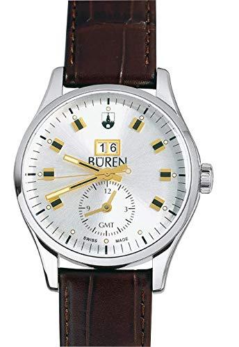 BÜREN 301027–Armbanduhr Herren, Lederband schwarz