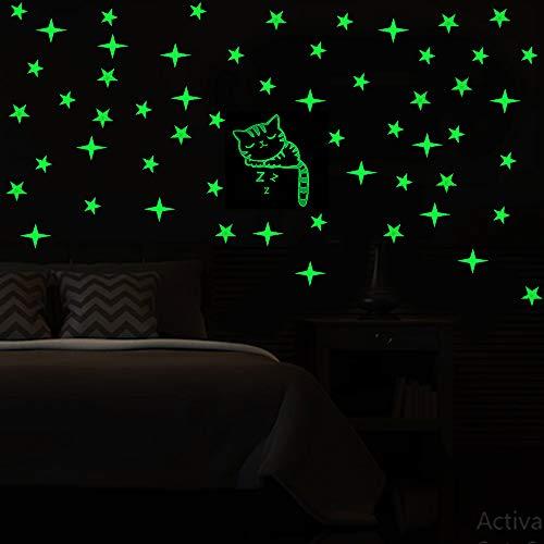 Premium Glow in The Dark Stars w/Bonus Glowing Cat - Perfect Luminous Wall Decal Stickers for Kids Boys Girls Nursery Bedroom Decor