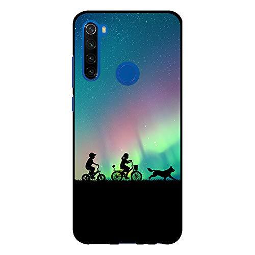 BJJ SHOP Custodia Nera per [ Xiaomi Redmi Note 8T ], Cover in Silicone Flessibile TPU, Design: Bambini dell Aurora boreale con Bicicletta e Cane