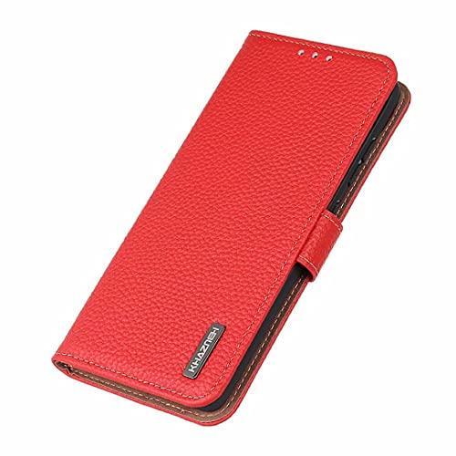 Coque 6plus,6splus Funda para Huawei P50 Pro Funda, Funda con Tapa de Cuero con patrón Lychee con Ranura para Tarjeta Funda para teléfono para Huawei P50 Pro -Rojo